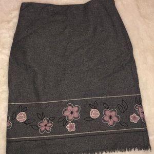 Loft embroidered fringe skirt